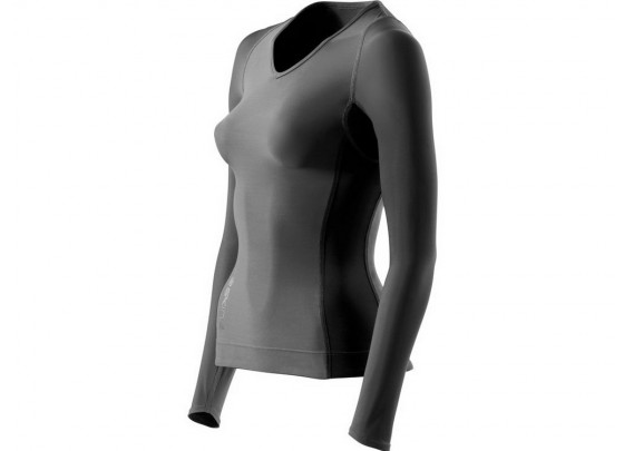 Skins: RY400 Women's Compression Long Sleeve Top for Recovery Graphite
