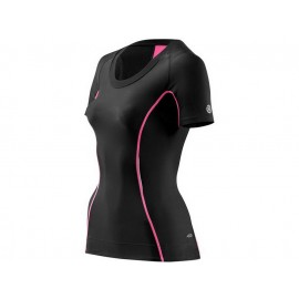 Skins: A200 Women's Short Sleeve Compression Top black-pink